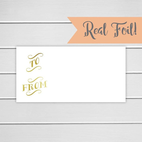 To and from foiled gift stickers package stickers gold foil