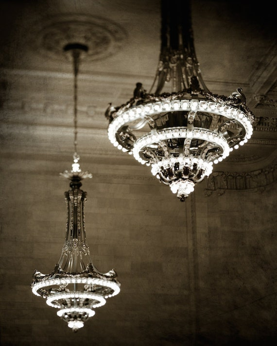 Sepia print new york city photography chandelier print dark like this item aloadofball Image collections