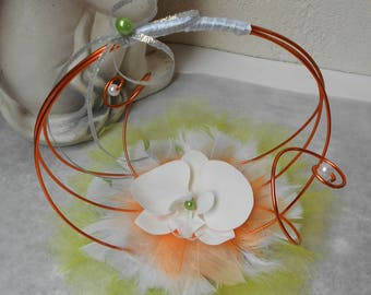 Original ring pillow - white orange and lime green Orchid