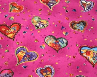 Laurel Burch Rare Oop FABULOUS FELINES Hearts on Pink Fabric - By the Half Yard