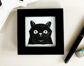 Cute Black Cat Mini Linoleum Block Print