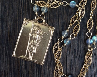 Antique French Joan of Arc Necklace, Labradorite Gemstone Chain