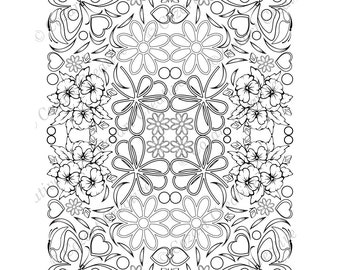 Adult coloring page, kaleidoscope, flower, butterfly, swirl, bows, pansy, heart, floral.  Spring Flowers. PDF