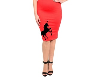 Unicorn Skirt Womens Plus Size Clothing Pin up Cute Unicorns Pencil Skirts screen printed Retro dress 2XL 3XL Spring