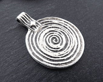 Spiral pendant etsy round spiral disc pendant spiral pendant silver spiral tribal pendant ethnic pendant necklace pendant matte antique silver plated aloadofball Images