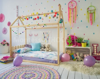 Toddler Bed, House Bed Crib Tent Bed Wooden House Wood House Kids Teepee Bed  Wood
