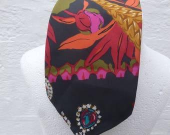 Necktie mens vintage tie gift for him silk neckwear 1990s retro floral red tie green present husband work necktie office tie silk gents gift