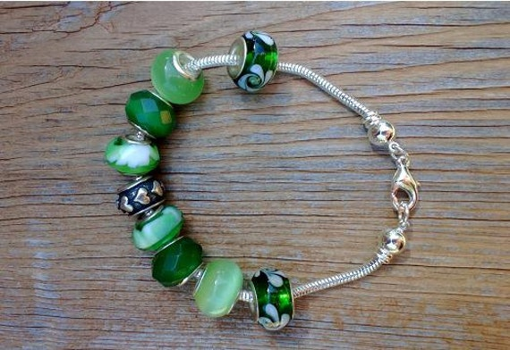 On Sale Green European Bracelet, Add A Bead, Chunky Green Trendy Bracelet, Big Bead Bracelet, Charm Bead Bracelet, Snake Chain Bracelet