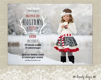 Hoilday Mini Christmas Mini Session Template for Photographers INSTANT DOWNLOAD