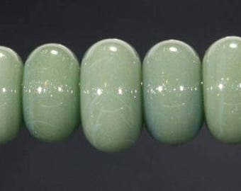 Lampwork Glass Boro Bead Set of 7 Spacer Beads Handmade Juba Glass Olive Green Sparkle 42a