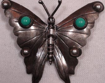 Antique Taxco Mexico Sterling Silver Turquoise Stone Butterfly Brooch
