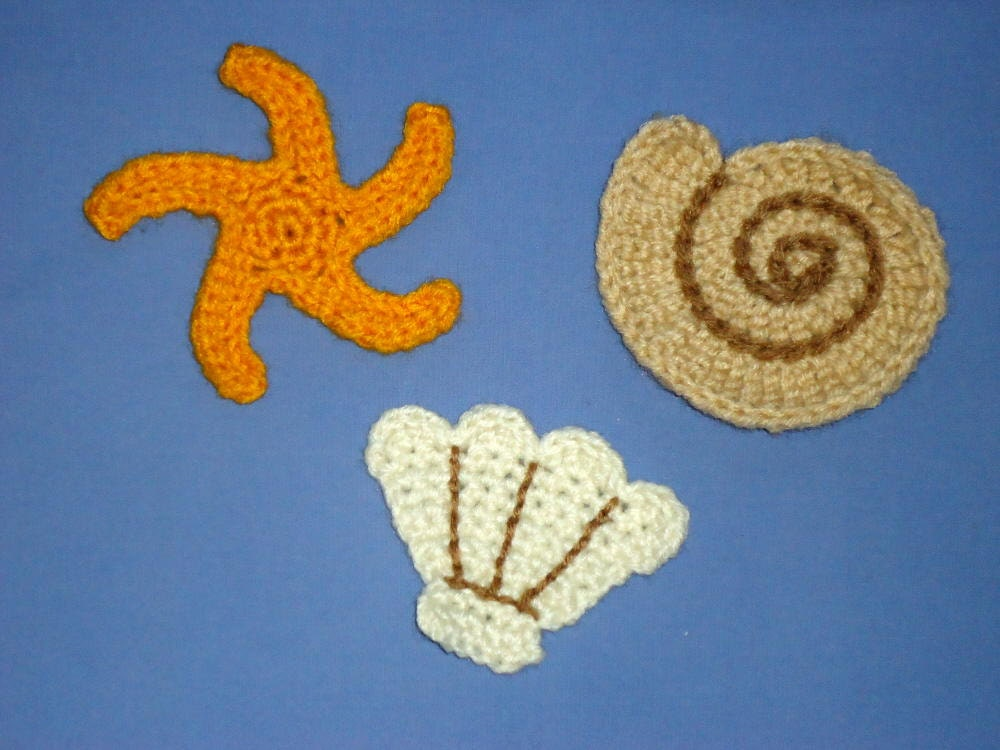 Seashell Applique Pattern Set Of A Crochet Sea Shell Clam And