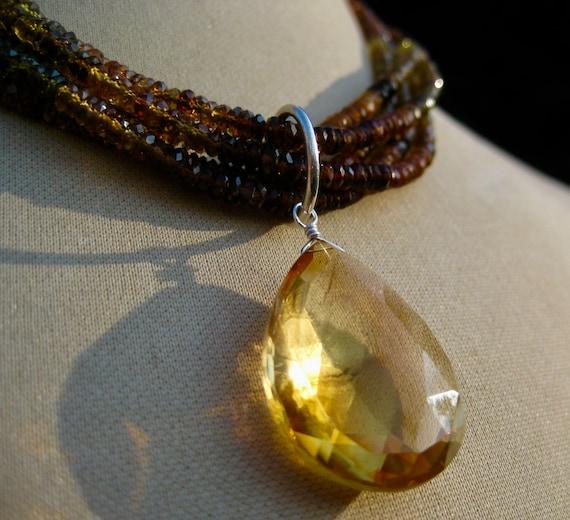 AURORA  Multistrand Autumnal Tone Tourmaline with Citrine Pendant Drop Necklace