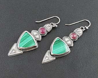 Malachite and Ruby Earrings, sterling silver, bohemian earrings, dangle earrings, michele grady, stamped, green pink silver, metal jewelry