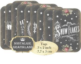 Winter Chalkboard Wonderland Let it Snow Flakes Tags printable Instant Download digital collage sheet T173