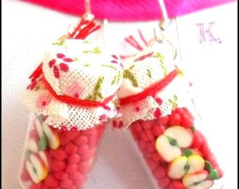 Apple, apples, baby food jars, Apple Kawaii Earrings earrings