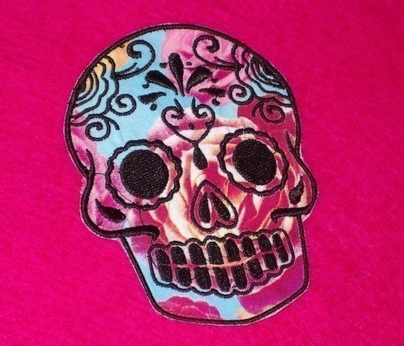 Day of the Dead, Sugar Skull EMBROIDERED patch 4 roses