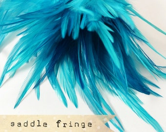 TEAL - Rooster Saddle Fringe Feathers - coque saddle - soft, pointy tipped, feather trimming