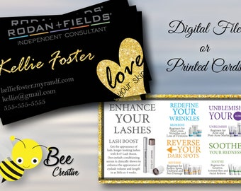 Rodan and Fields Business Cards With Gold Glitter , Printed , Rodan + Fields Busines Card , Love Your Skin , Lashboost Regimens Description