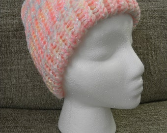 Super Soft Pink, Blue, White, and Yellow Child's Knit Hat