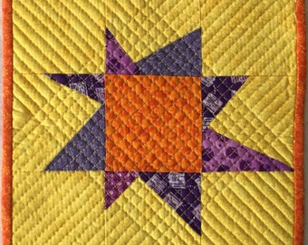 Quilted Wonky Star Orange and Yellow Mug Rug