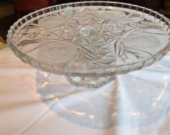 Vintage Crystal Cake Stand & Matching Footed Compote