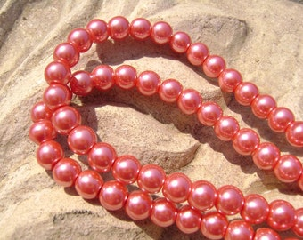 Pearlescent Glass Pearl Pearls Beads Cranberry Red 8mm Round LARGE 30mm Strand