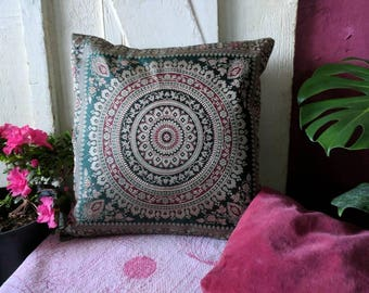 Silk Blend Green and Pink Pillow Cover