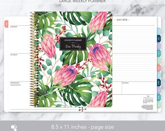 8.5x11 weekly planner 2018 2019   choose your start month   12 month calendar   LARGE WEEKLY PLANNER   tropical floral