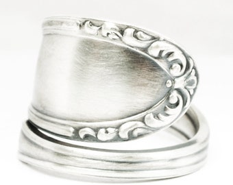 Minimalist Ring, Antique German 800 Silver Spoon Ring, Rococo Jewelry, German Jewelry, Simple Ring, Adjustable Ring Size Gift Under 40, 7136