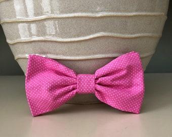 XL Dog Bow - Bow Tie / Bright Pink w Tiny Dots