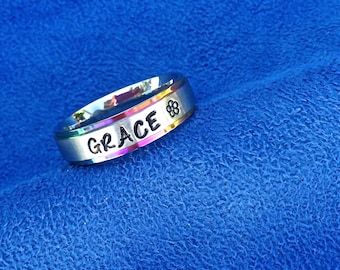 Personalized Hand Stamped/Engraved Ring~Any Name~Rainbow/Multicolor Trimmed~Comfort Fit Stainless Steel~17 Engraving Colors~27 Cute Symbols