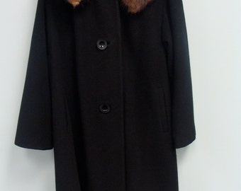 Vintage Cashmere Women's Black Wool Coat with Mink Collar SALE!