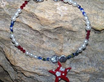 Red, white and blue anklet - Patriotic Ankle Bracelet