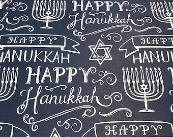 Navy and White Happy Hanukkah Personal Dividers OR A5 Dashboard