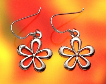 925 Solid Sterling Silver FLOWER  Earrings/Dangling/Hook/Polished/Floral Earrings/Flower Earrings