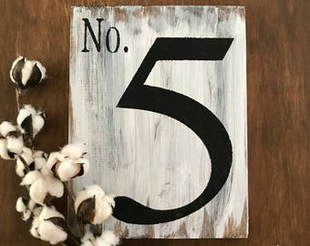 BEST SELLER | Single Digit Number Sign | No. 5 Sign | White Washed | Rustic Wood Sign | Modern Farmhouse Sign | 10x12