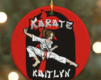 Personalized Karate Ornament (Female version) - Personalized with Name