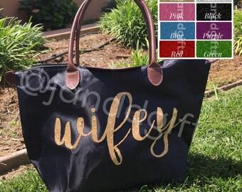 Wifey tote bag. Wifey honeymoon bag. Wifey nylon tote bag. Honeymoon tote. Gifts for bride. Bride Gift. Wifey canvas tote bag. Honeymoon bag
