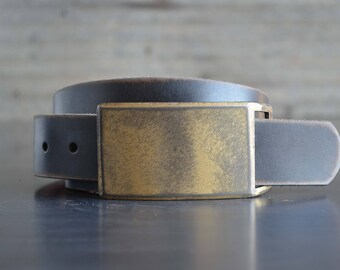 Gold FOUNDATION SET Belt Buckle & Leather Belt by Fosterweld