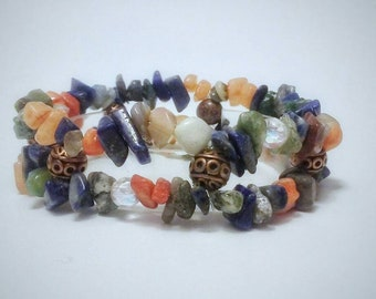Jasper and Quartz stylish calming meditative chip stones cuff bracelet, color & rich texture rich