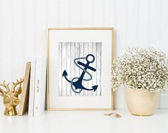 Nautical Wall Decor, Faux Wood, Navy Blue Decor, Nautical Art Print, Rustic Nautical Decor, Anchor Wall Art, Nautical Anchor, Coastal Art