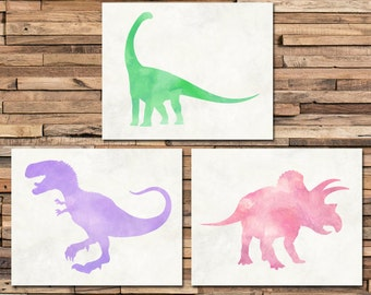 Dinosaur Nursery - Kids Decor - Baby Girl Nursery - Girl Room Decor - Dinosaur Print - Dinosaur Art - Nursery Wall Decor - Dinosaur Wall Art