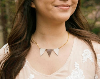 Geometric Leather Triangle  Necklace