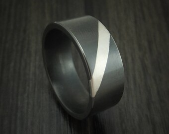 Black Zirconium and Angled Palladium Band Custom Made