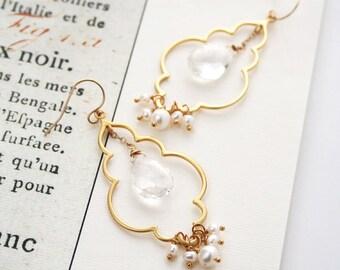 Bridal Earrings, Crystal Earrings, Pearl Earrings, Boho Bride, Chandelier Earrings