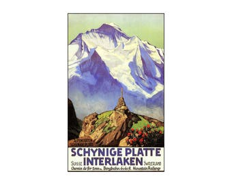 Switzerland 1936 Interlaken Schynige Platte Vintage Poster Print Retro Style Art Free US Post Low EU & CA Post Special Deal Price!!