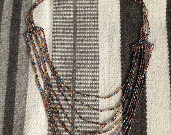 Cascading beaded tribal necklace