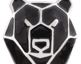 1 PC - 18MM Bear Geometric Black Silver Charm for Snap Jewelry KC7498 CC3970