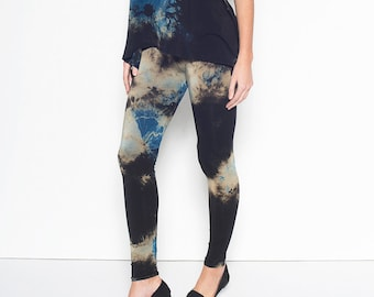 Tie Dye Leggings, Bamboo Tie Dye Leggings, Black Tie Dye, Burning Man Leggings, Black Yoga XL, Boho Yoga Leggings, Black Yoga Pants, XL pant